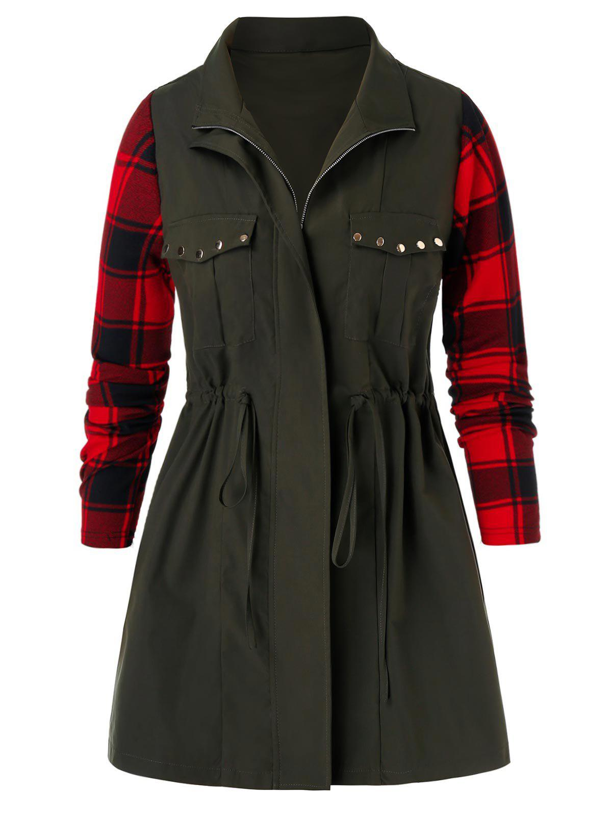 Plus Size Plaid Studded Drawstring Coat - ARMY GREEN 3X