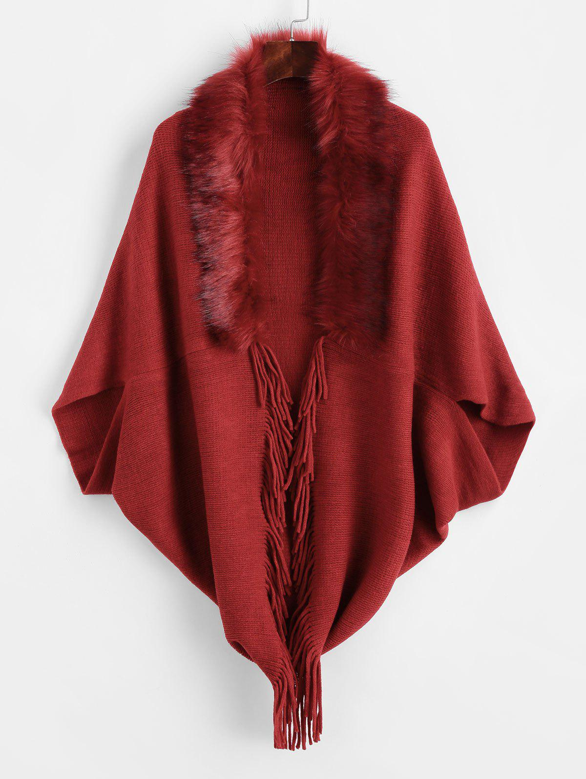 Fur Trim Fringed Open Cape Cardigan - RED WINE ONE SIZE