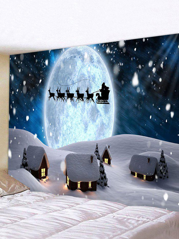 Christmas Snow Night Pattern Tapestry - multicolor W59 X L51 INCH