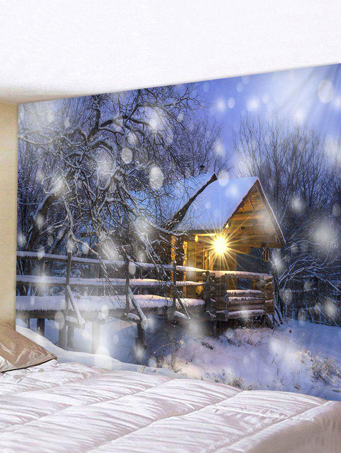 Christmas Snow House Pattern Tapestry - multicolor W79 X L59 INCH