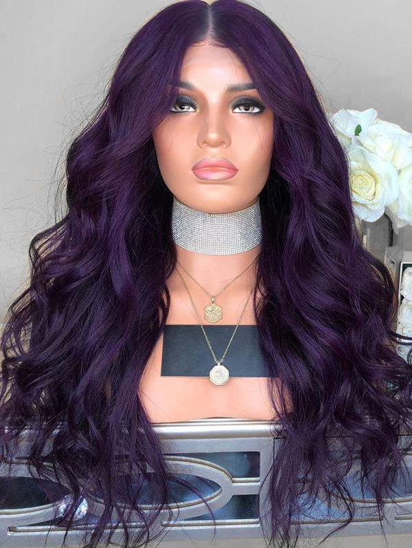 Wavy Center Parting Long Synthetic Wig - PLUM PURPLE