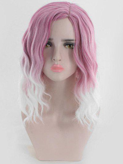 Ombre Medium Side Part Wavy Synthetic Wig - LIPSTICK PINK 14INCH