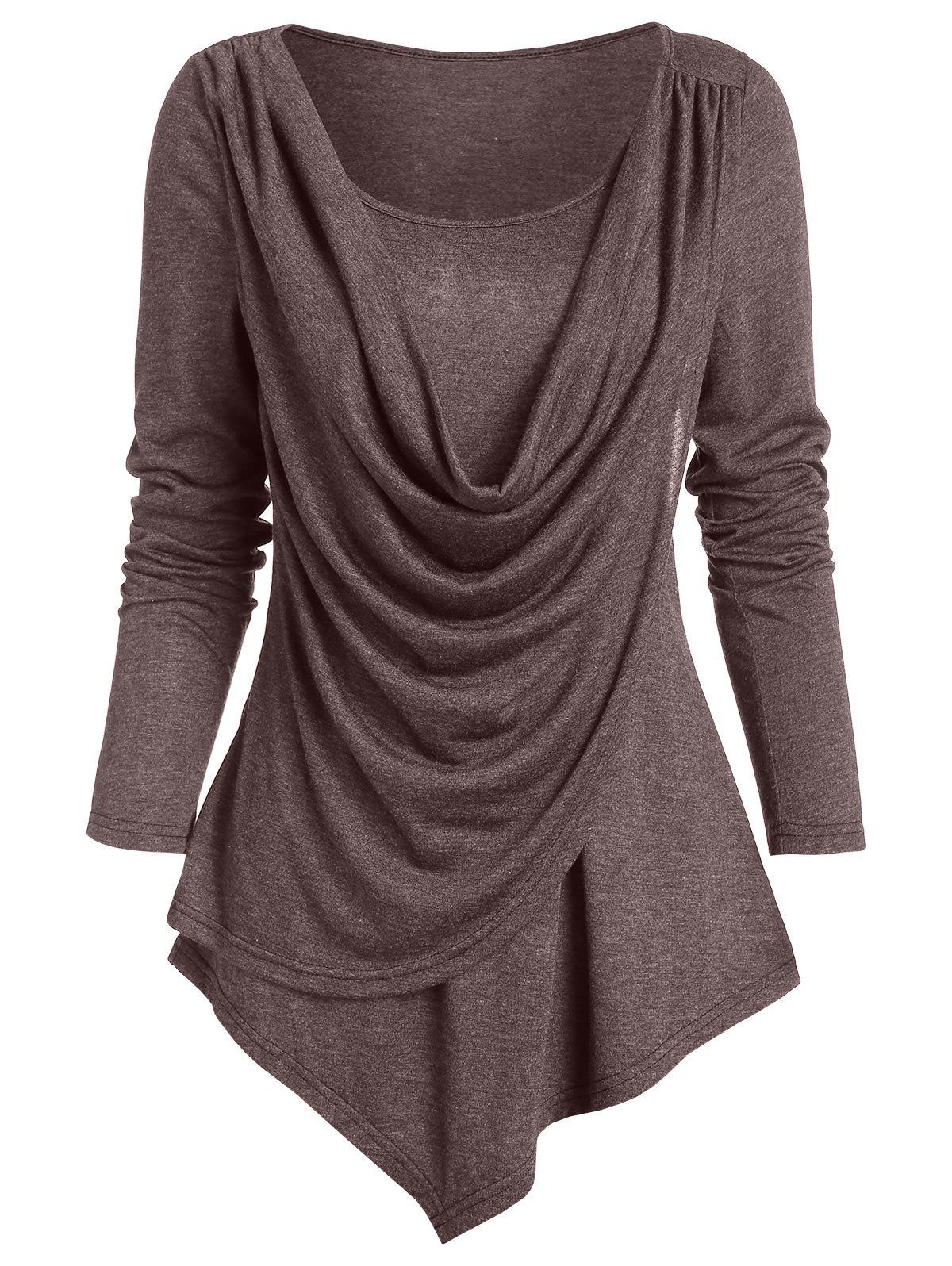Pointed Hem Heathered Draped Overlap T-shirt - BROWN BEAR XL