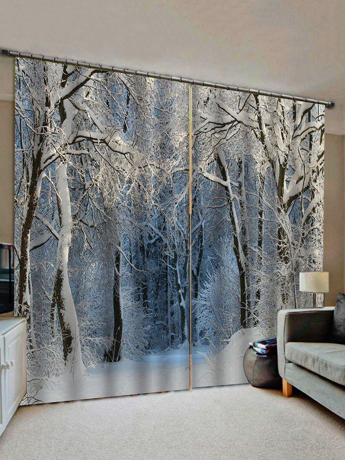 Snow Forest Pattern Window Curtains - multicolor W33.5 X L79 INCH X 2PCS