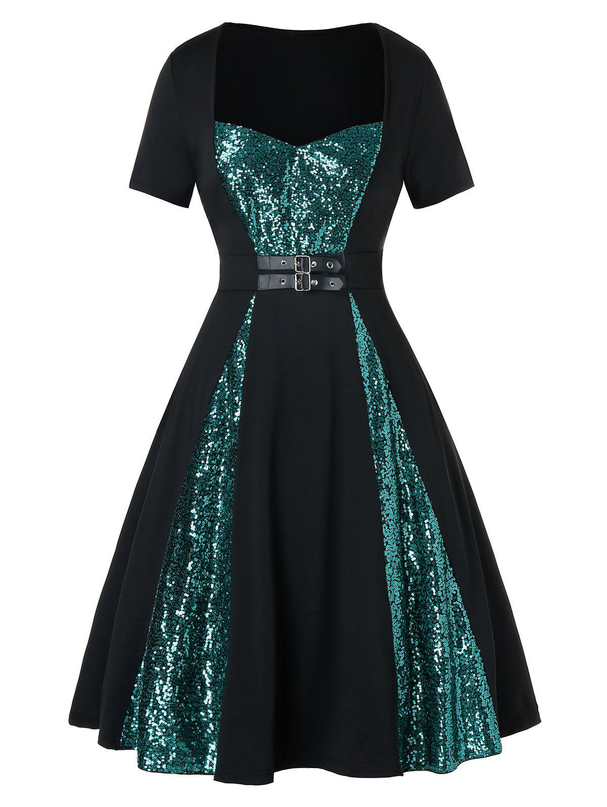 Plus Size Sequined Buckle Sweetheart Neck Retro Dress - BLACK 5X