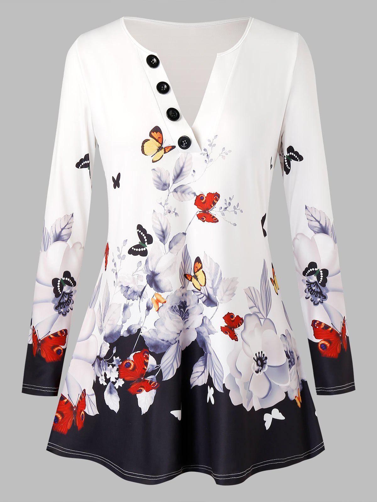 Plus Size Butterfly Floral Print Buttons T Shirt - WHITE L