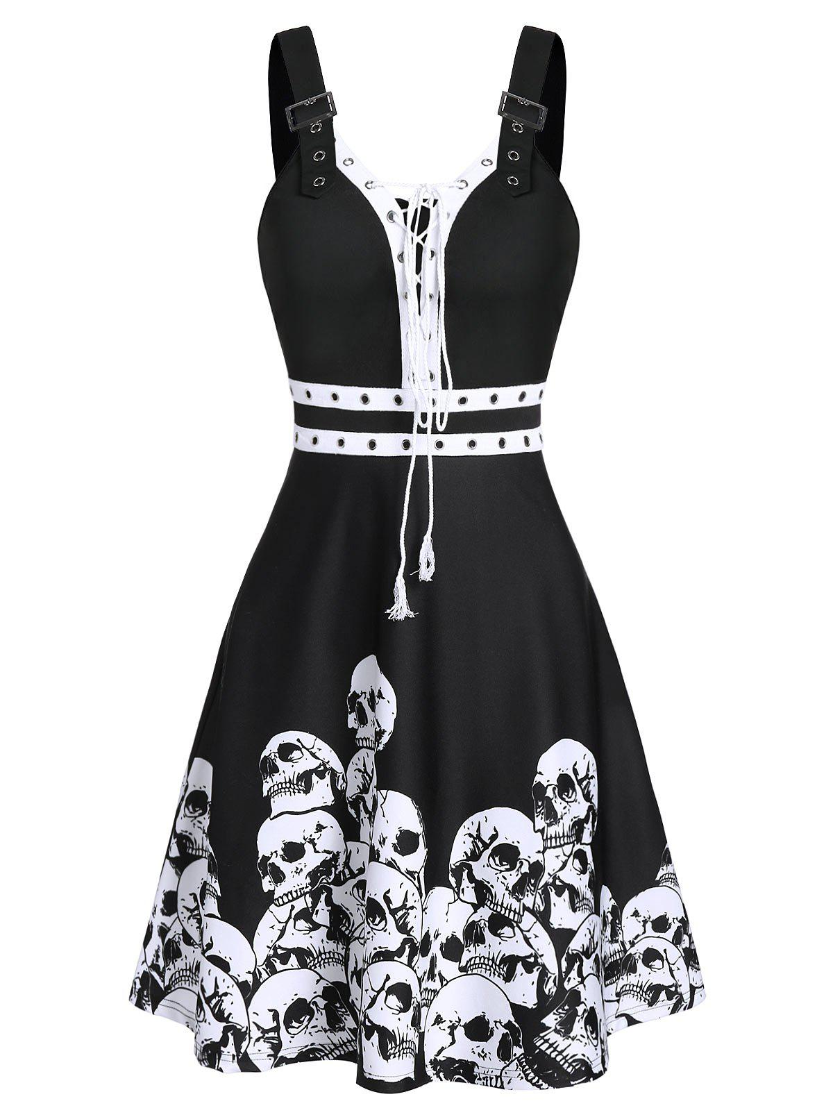 Halloween Skull Print Lace-up Buckle Strap Dress - BLACK XL