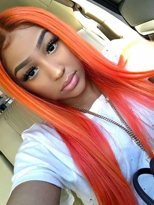 Synthetic Long Ombre Straight Center Part Wig - ORANGE 24INCH