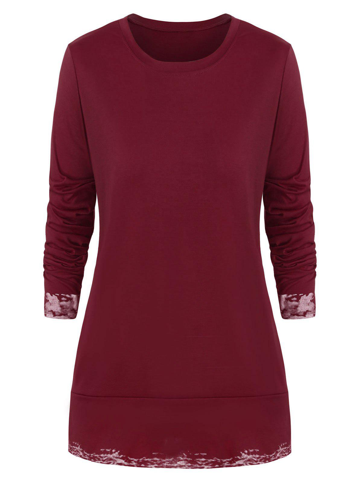 Plus Size Slits Printed Round Neck Tee - RED L