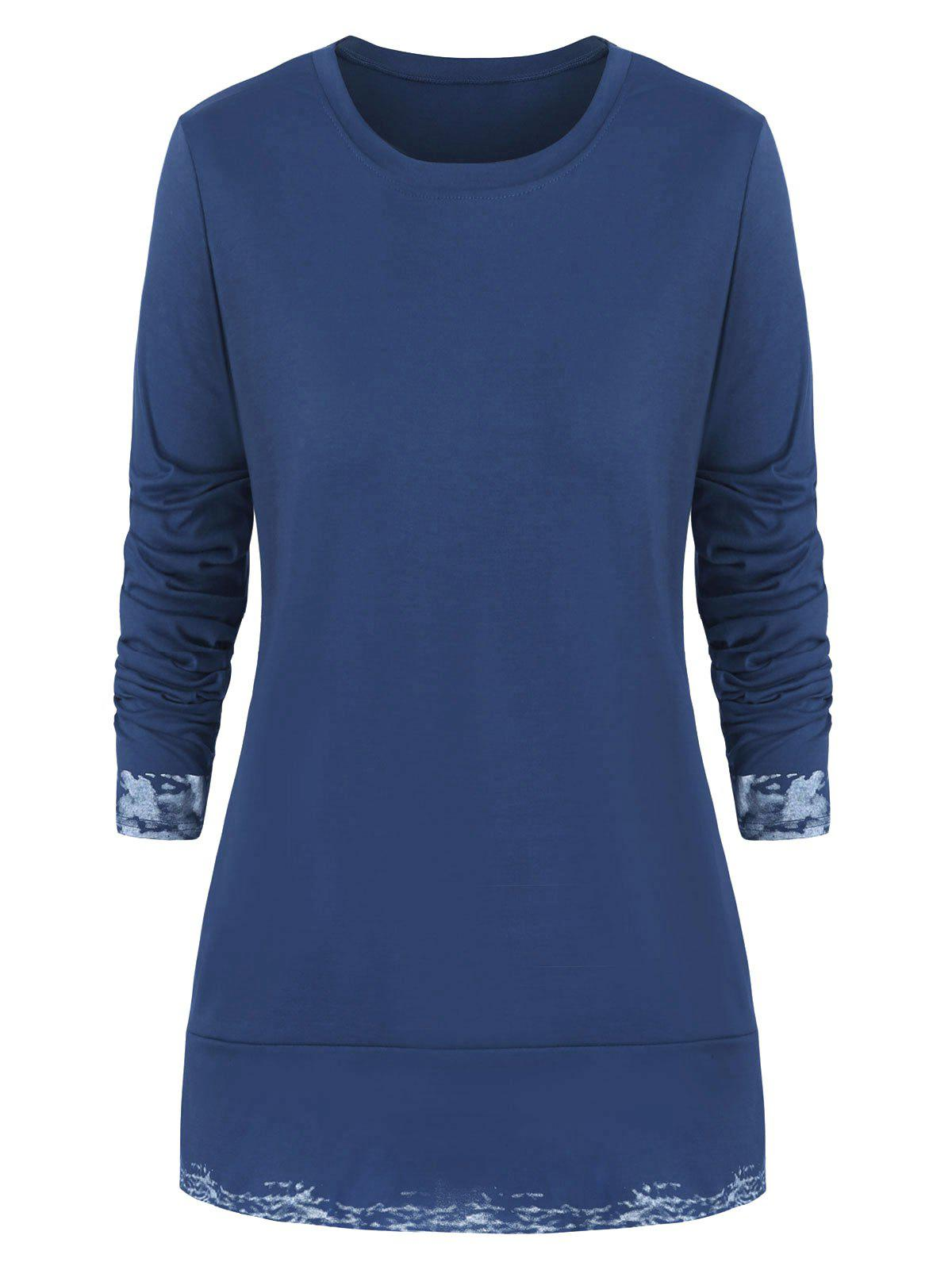 Plus Size Slits Printed Round Neck Tee - BLUE 4X