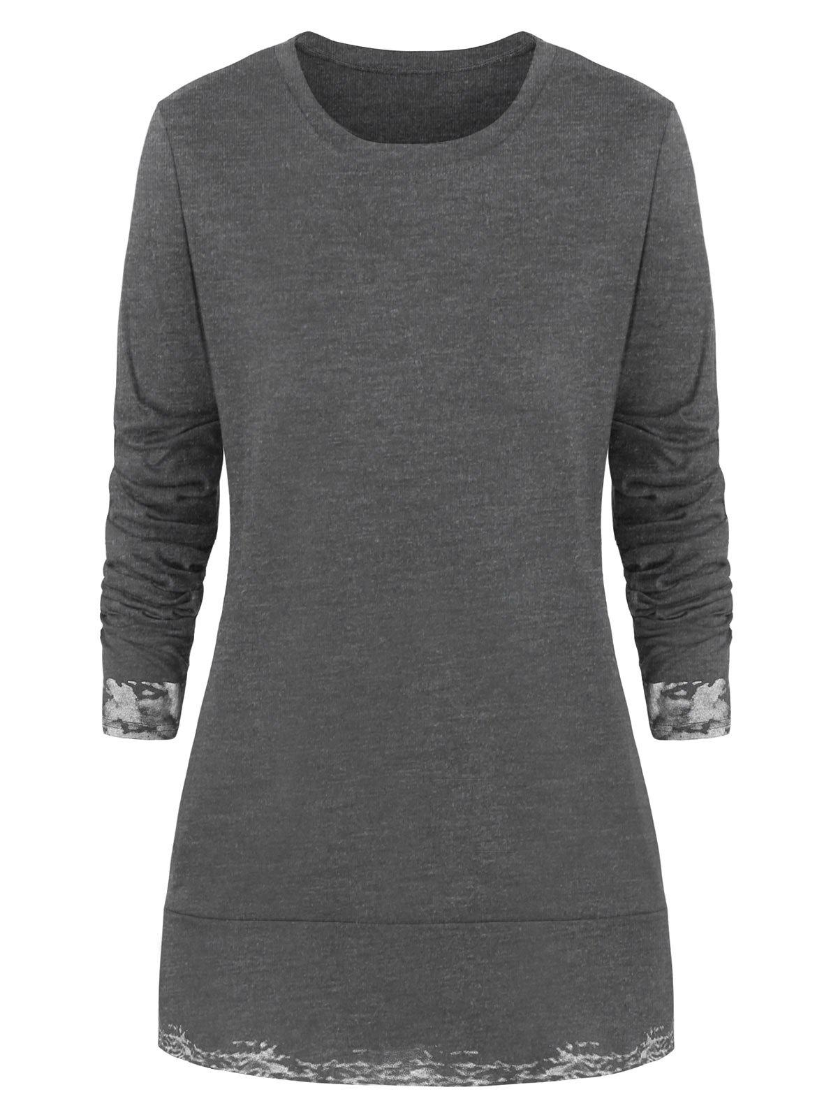 Plus Size Slits Printed Round Neck Tee - GRAY L