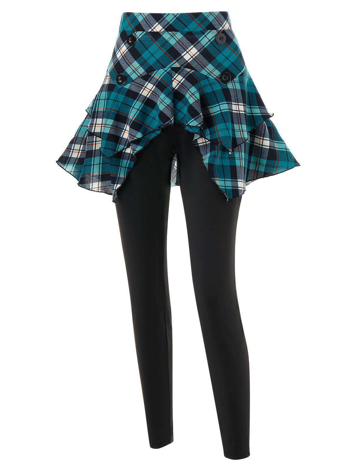 Plus Size 2 in 1 Plaid Fitted Leggings - BLACK 3X