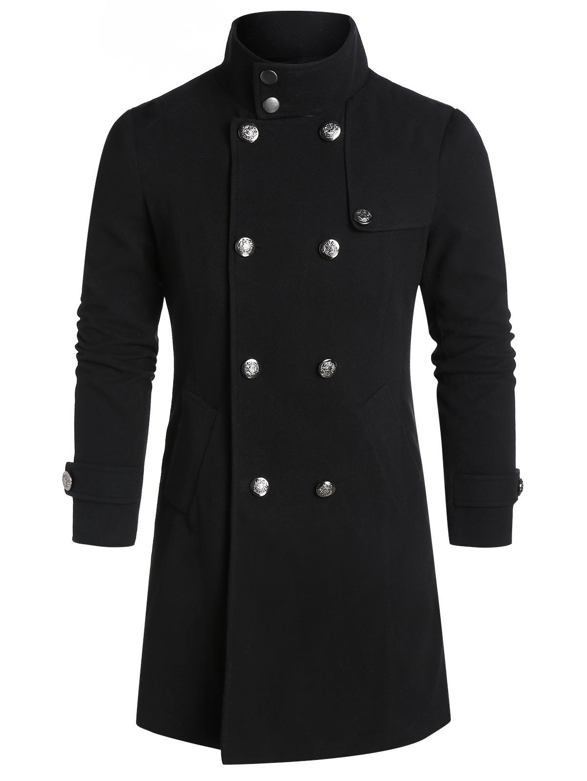 Double Breasted Wool Blend Back Slit Military Coat - BLACK S