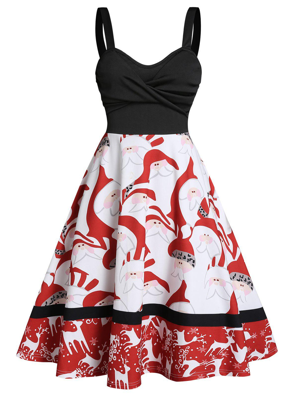 Christmas Santa Claus Elk Print Twist Front Skater Dress - RED M