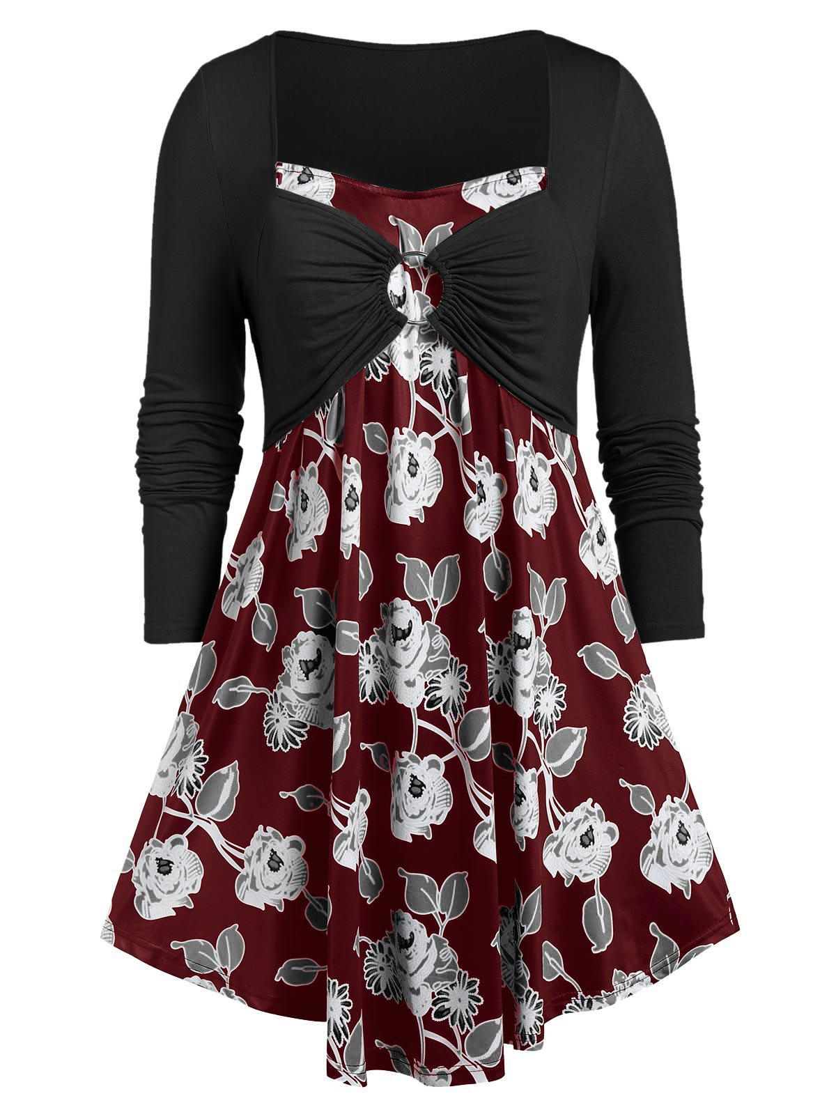 Plus Size Floral Print Ruched O Ring T-shirt - RED WINE 4X