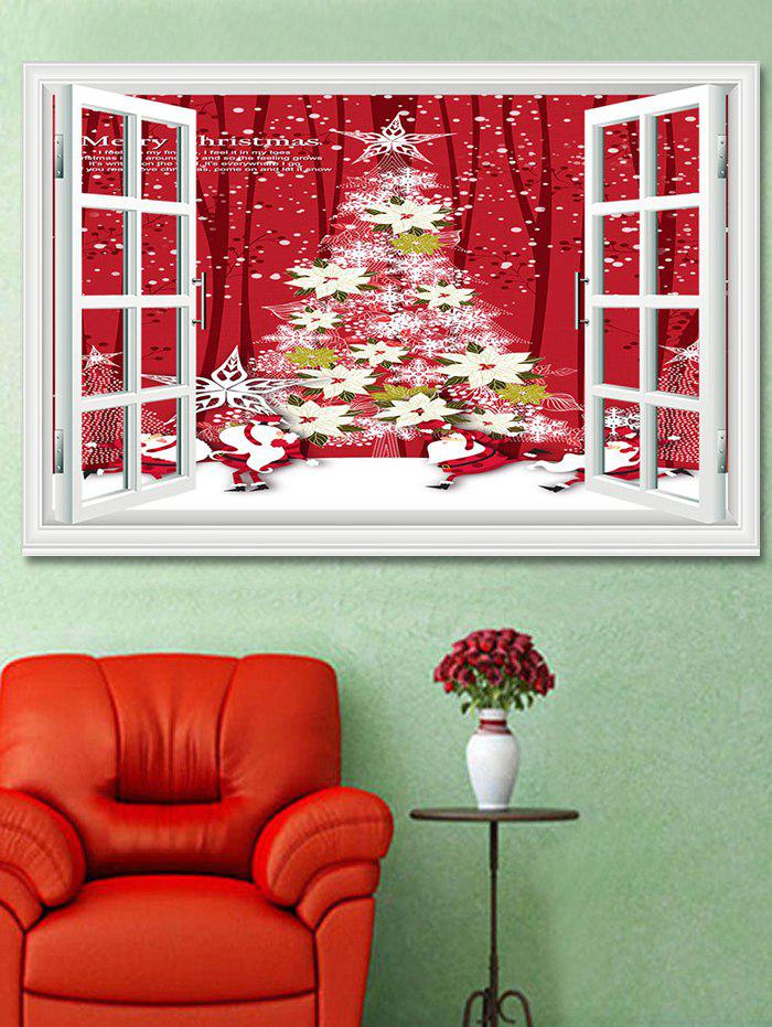 Christmas Flower Tree Window Print Decorative Wall Art Sticker - multicolor 1PC X 20 X 28 INCH( NO FRAME)
