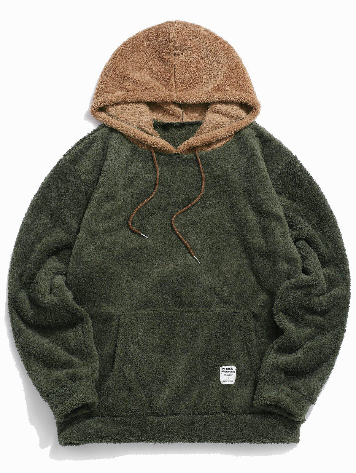 Colorblock Splicing Faux Fur Fluffy Hoodie - ARMY GREEN 2XL