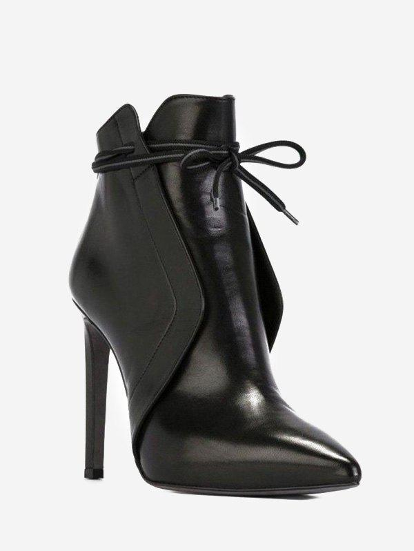 Front Tie High Heel Pointed Toe Boots - BLACK EU 37