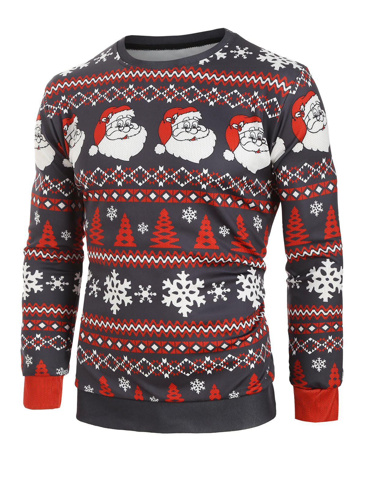 Christmas Santa Snowflake Print Casual Sweatshirt - multicolor 2XL