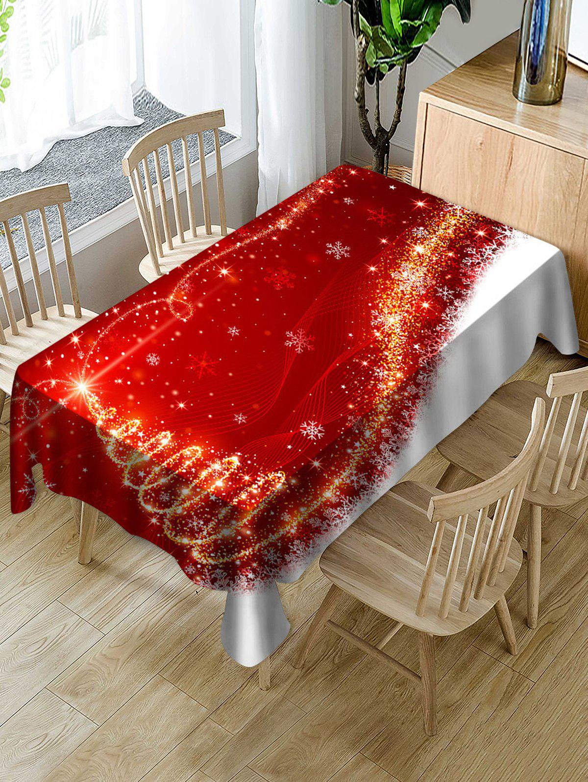 Christmas Snowflake Pattern Fabric Waterproof Table Cloth - multicolor W55 X L71 INCH