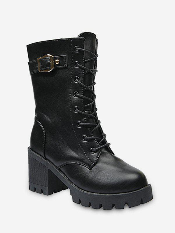 Buckle Accent Lace Up Mid Calf Boots - BLACK EU 39
