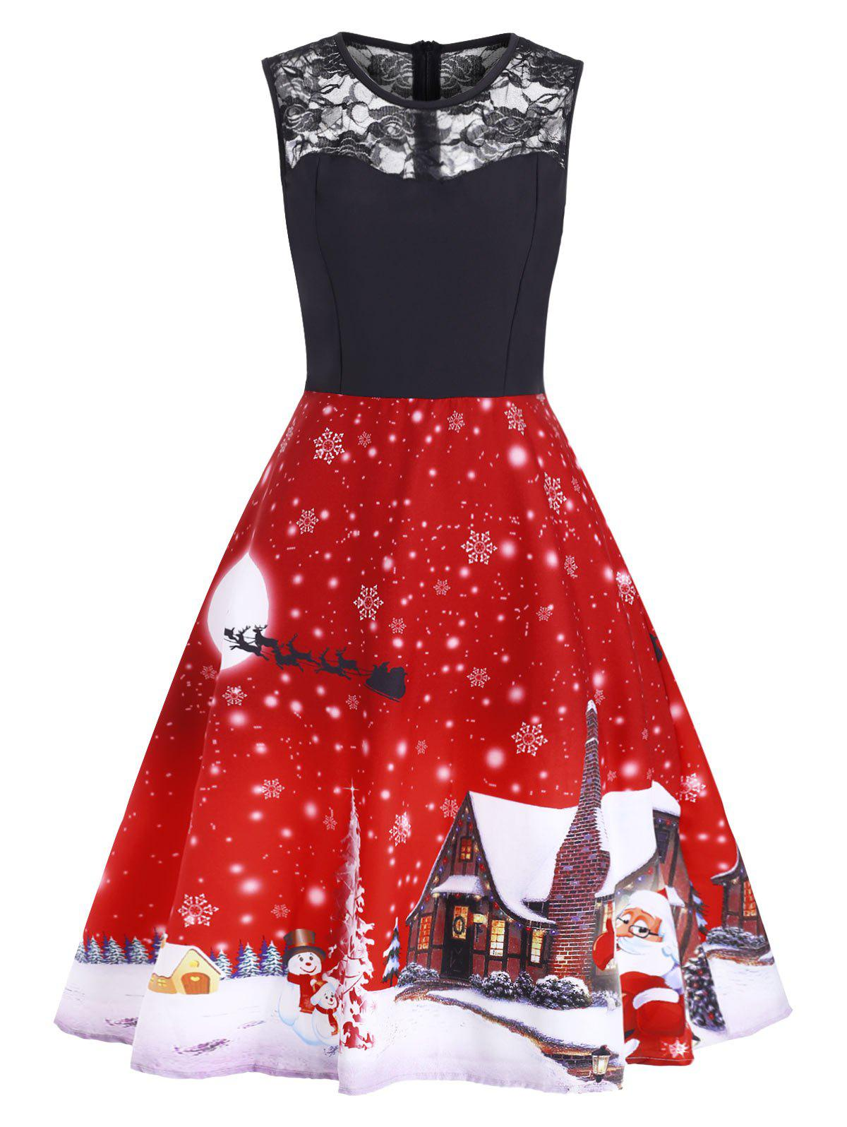 Christmas Snowflake Lace Panel Santa Print A Line Dress - RED L