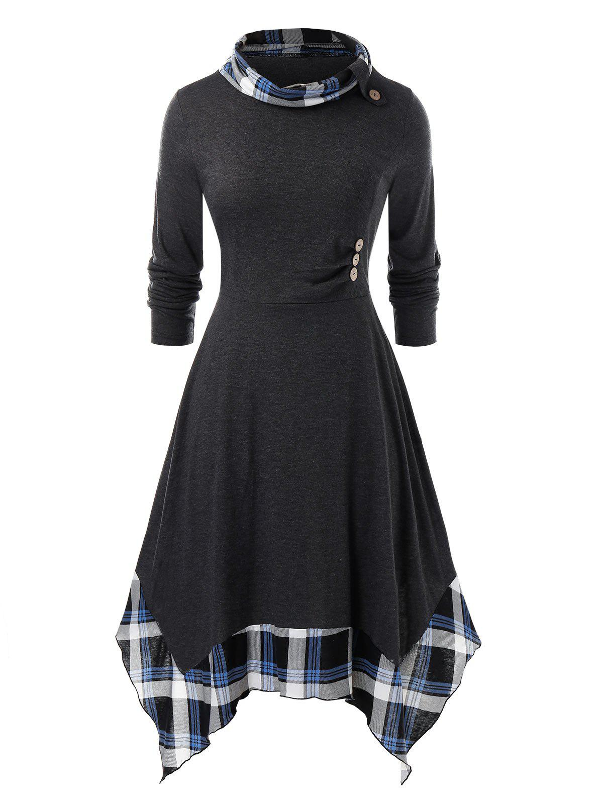 Plus Size Plaid Splicing Mouchoir Robe - Noir 1X