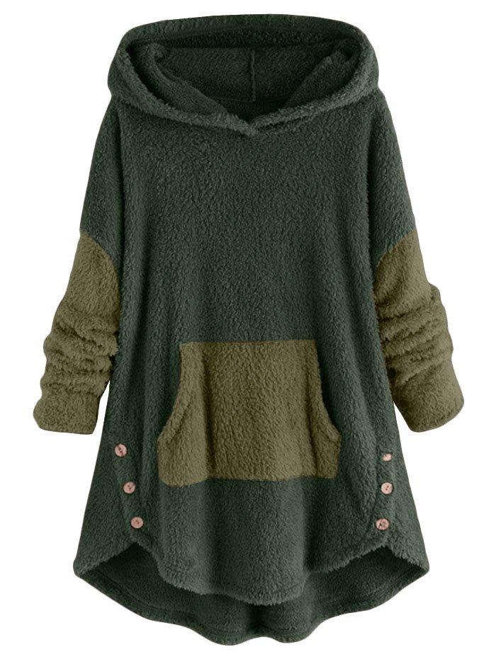 Front Pocket High Low Fluffy Faux Shearling Plus Size Hoodie - GREEN L