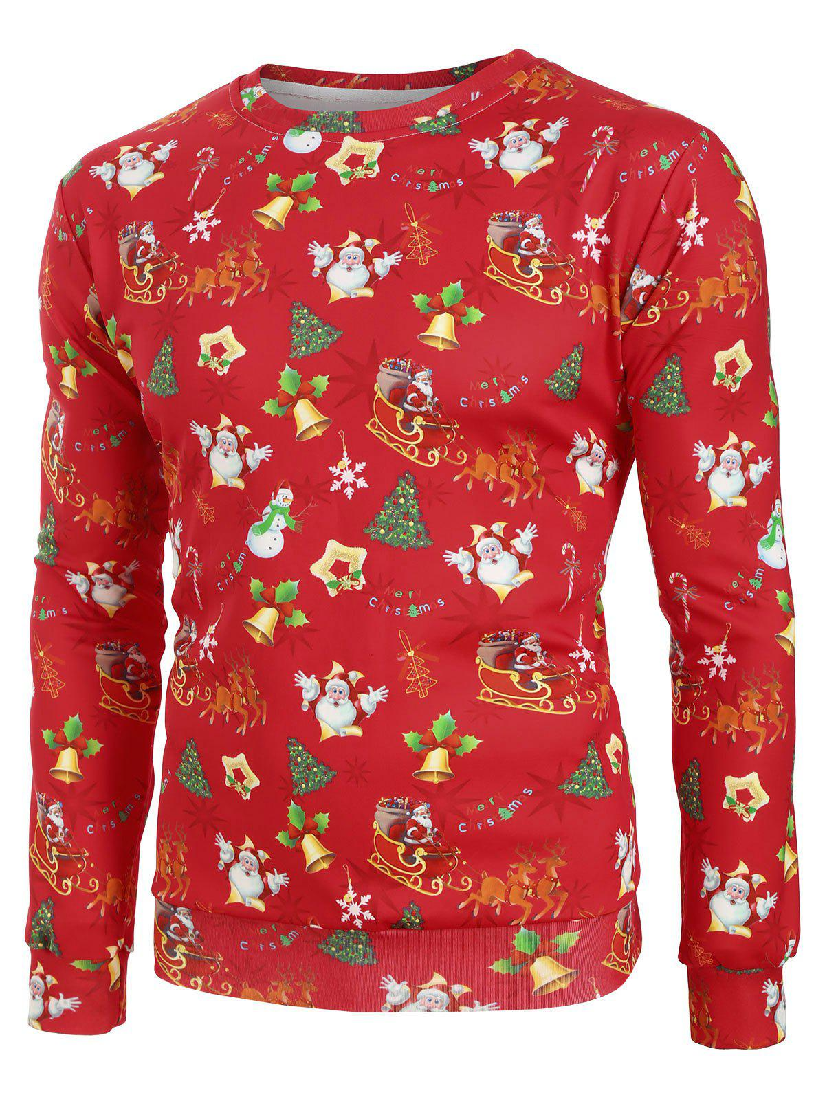 Christmas Pattern Allover Print Casual Sweatshirt - multicolor 2XL