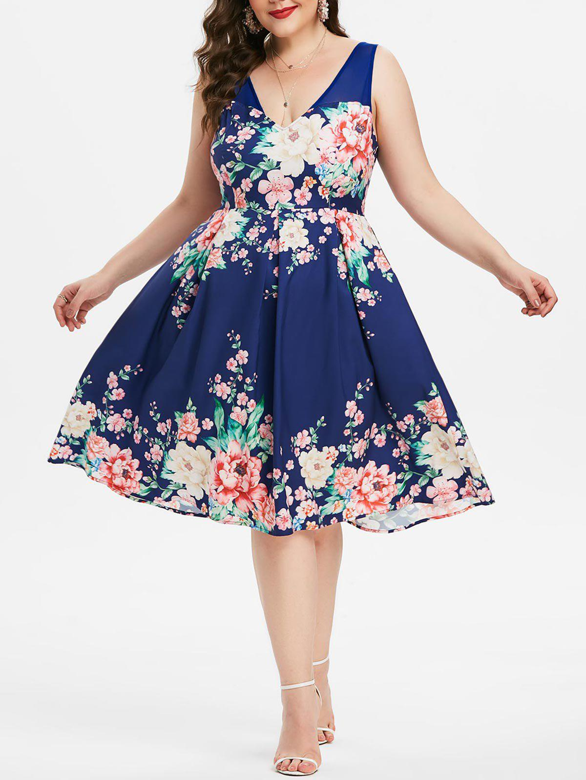 Plus Size Low Cut Mesh Insert Floral Midi Dress - multicolor L