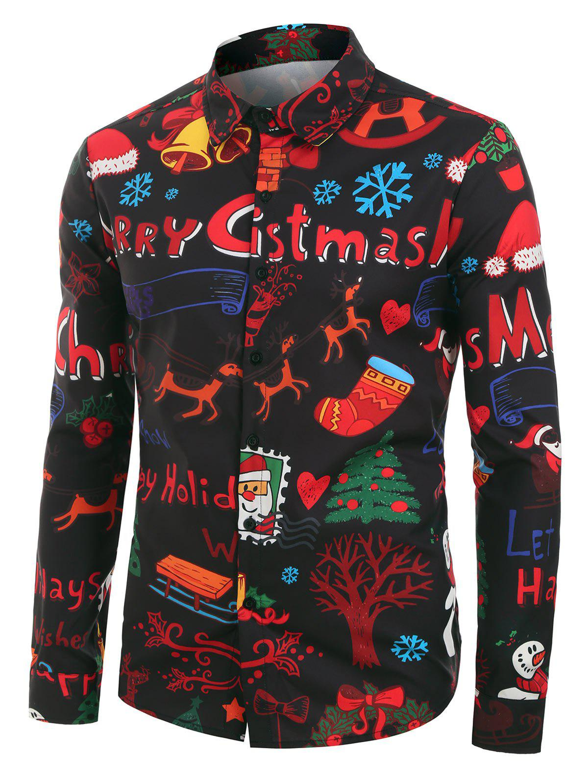 Christmas Graphic Pattern Long-sleeved Shirt - multicolor XL