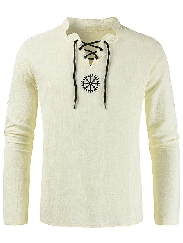 Embroidery Lace-up Decorated Long-sleeved Shirt - LIGHT KHAKI XL
