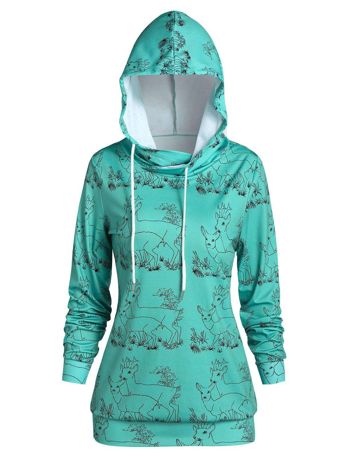 Christmas Elk Couple Print Drawstring Pullover Hoodie - CYAN OPAQUE 2XL