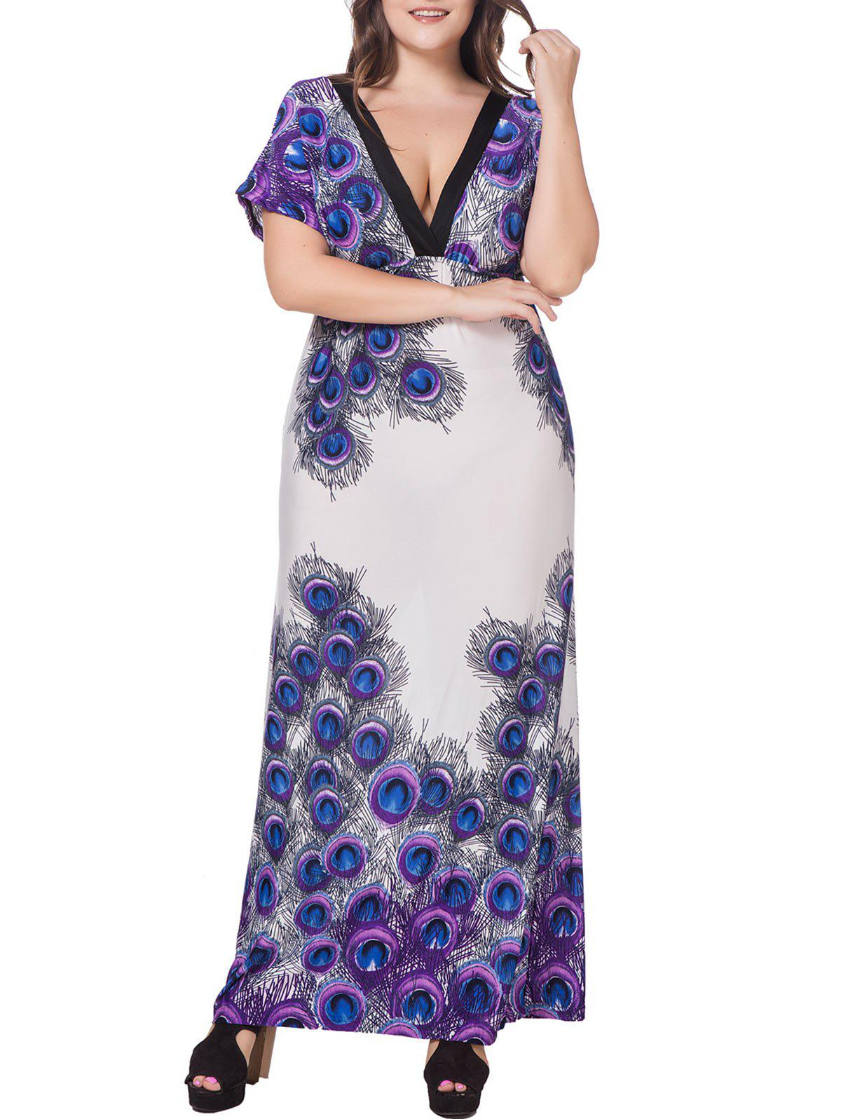 Feather Print Tie Empire Waist Plus Size Maxi Dress - PURPLE 3X