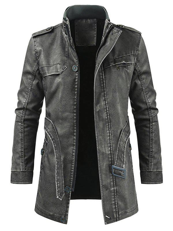 Solid Faux Fur Artificial Leather Longline Jacket with Belt