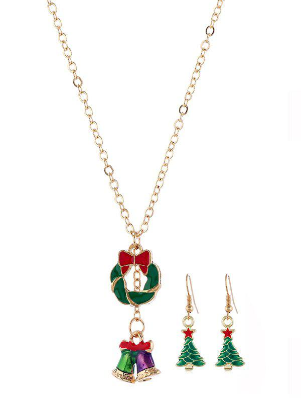 Christmas Tree Bell Necklace Earring Set - GOLD