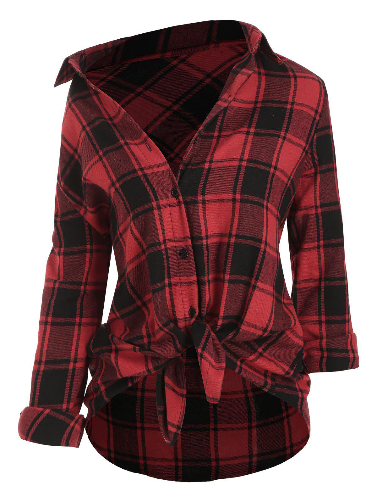 Plus Size Plaid Shirt ourlet arrondi - Rouge 1X