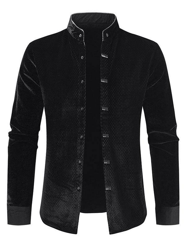 Long Sleeve Velour Button Fleece Shirt - BLACK S