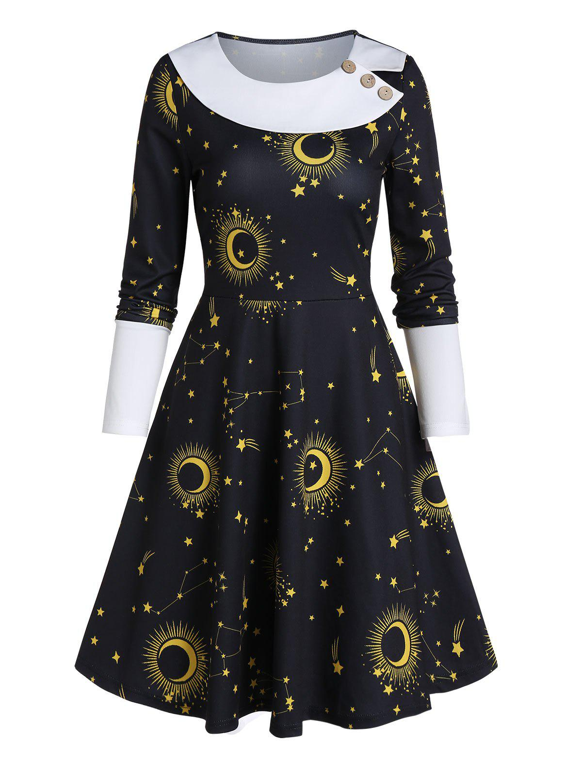 Moon Star Print Button Long Sleeve Mini Dress - BLACK 2XL