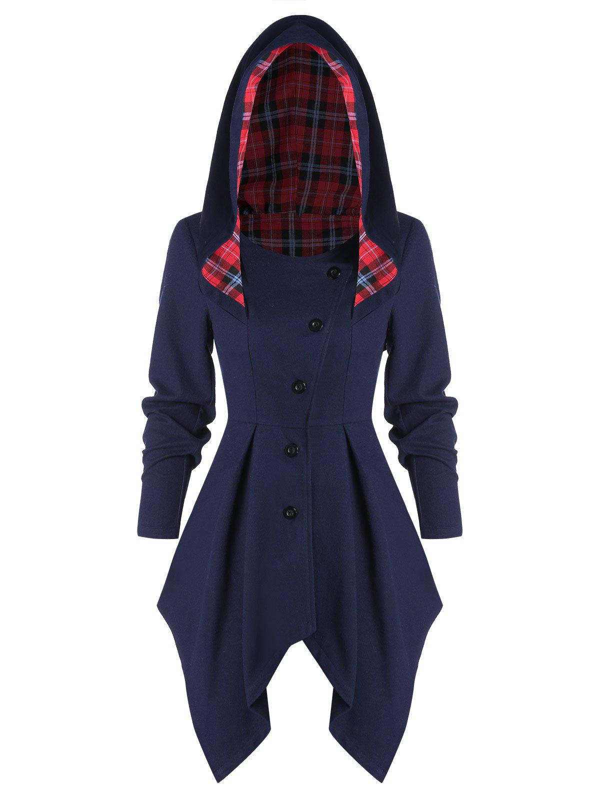 Button Up Asymmetric Hooded Coat - MIDNIGHT BLUE 2XL