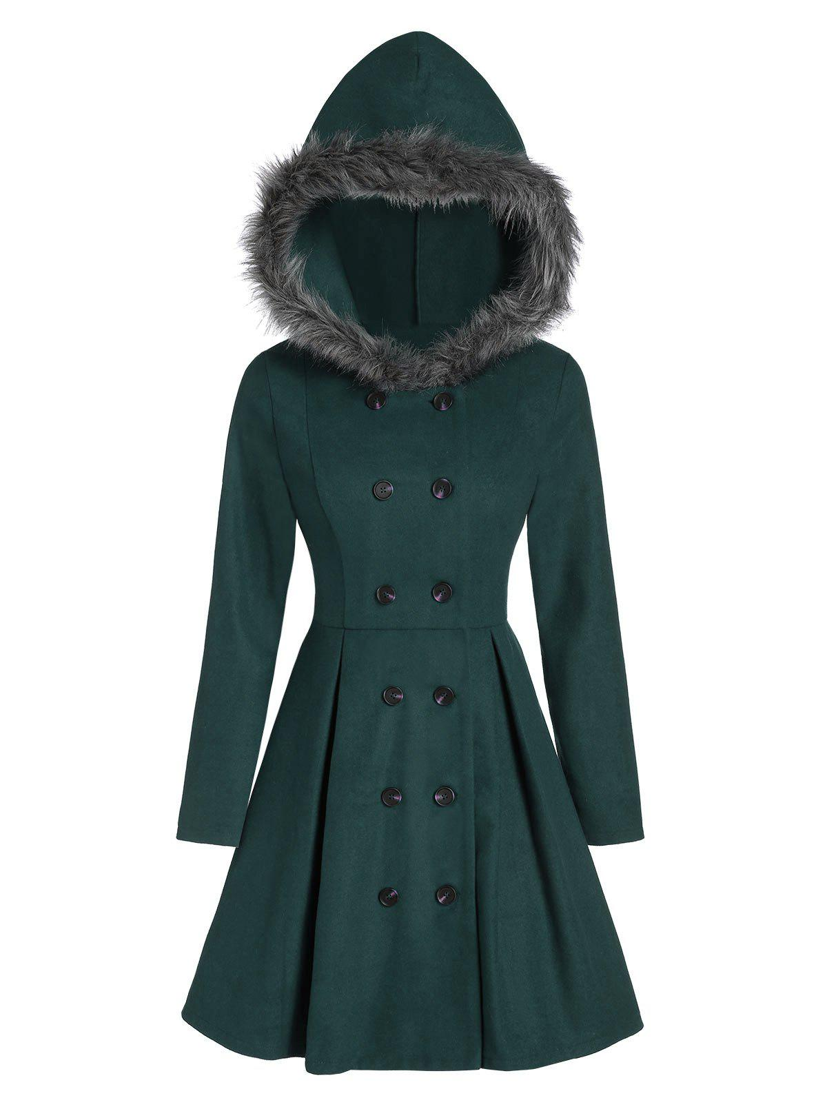 Double Breasted Fur Hooded Long Coat - DARK GREEN L