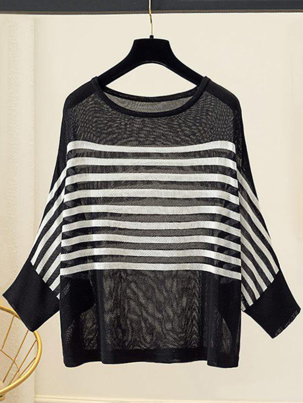 Plus Size Striped Batwing Sleeve Sweater - BLACK 2X