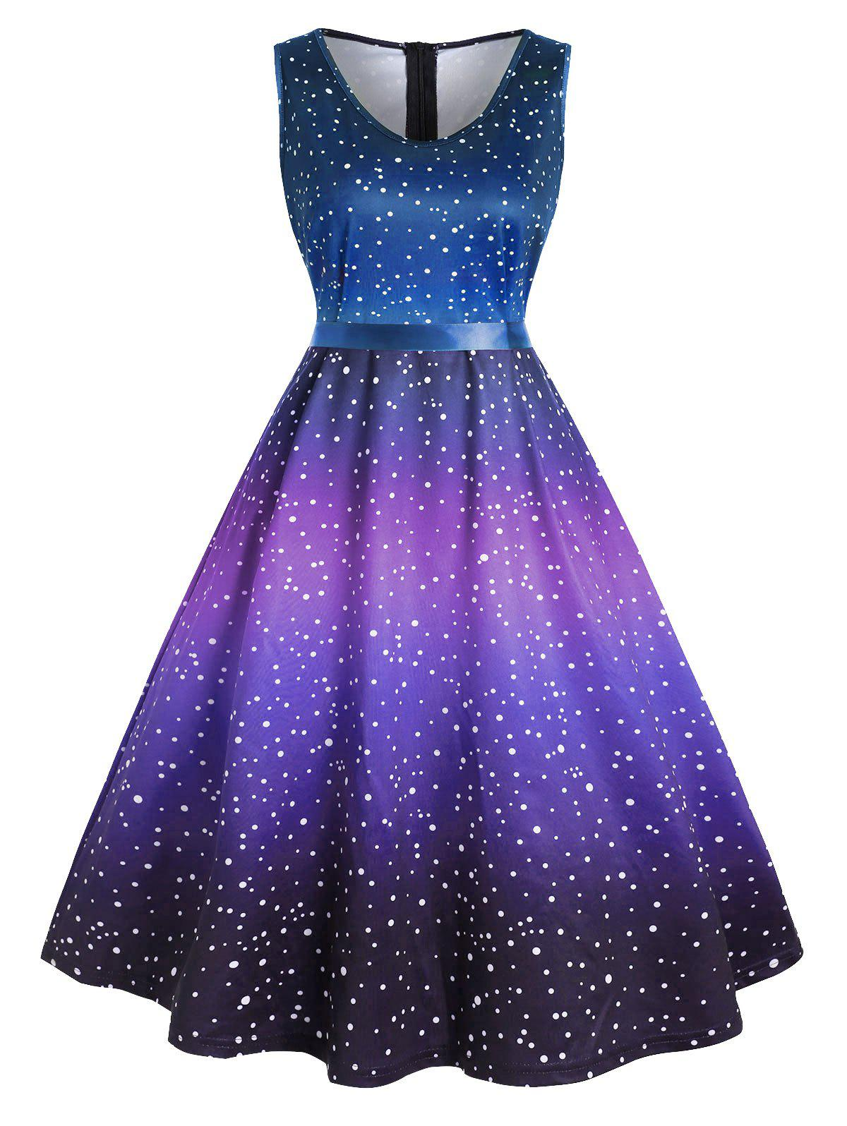 Plus Size Vintage Ombre Polka Dot Pin Up Dress - PURPLE 5X