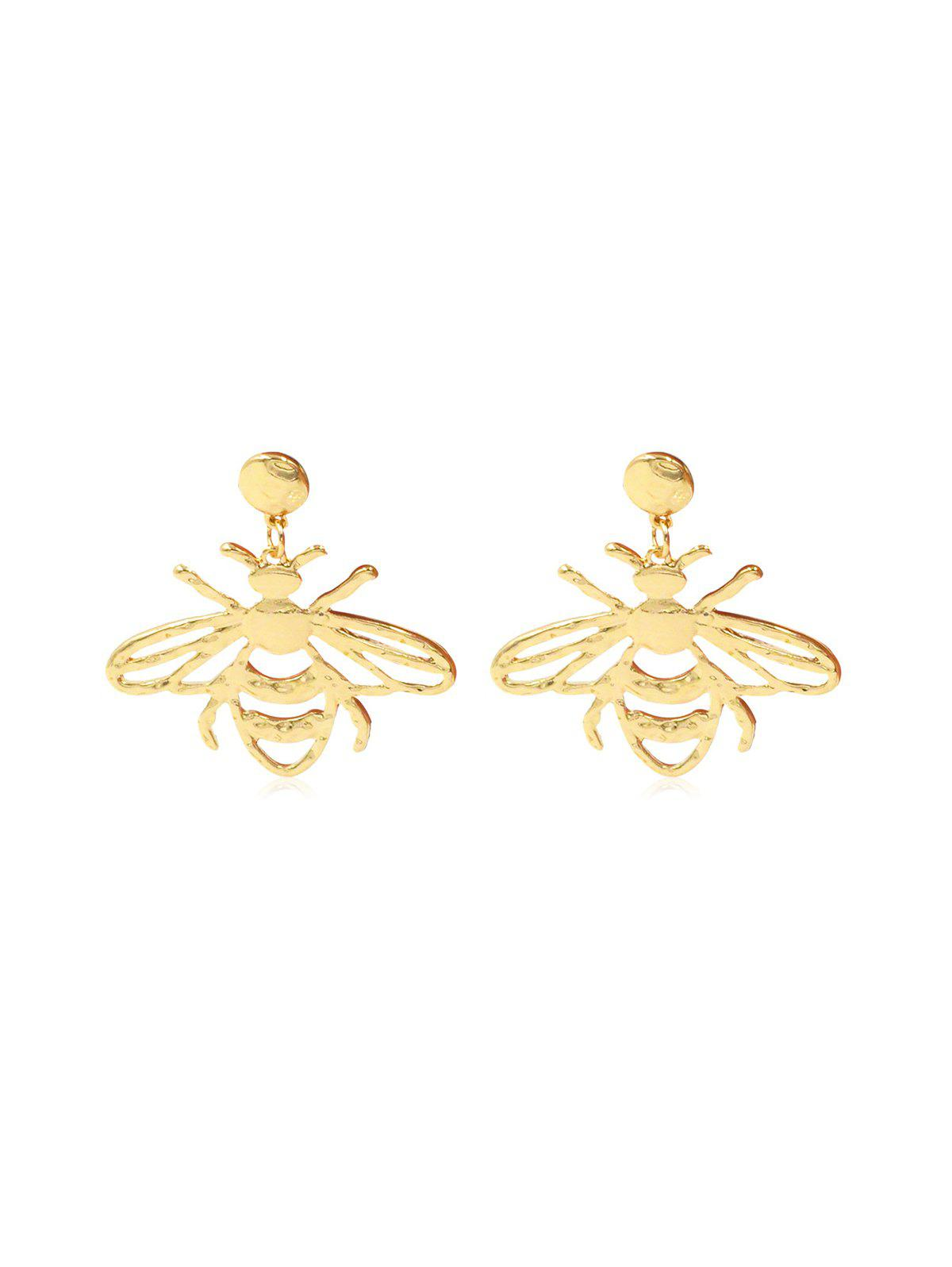 Hollow Out Bee Alloy Stud Drop Earrings - GOLD