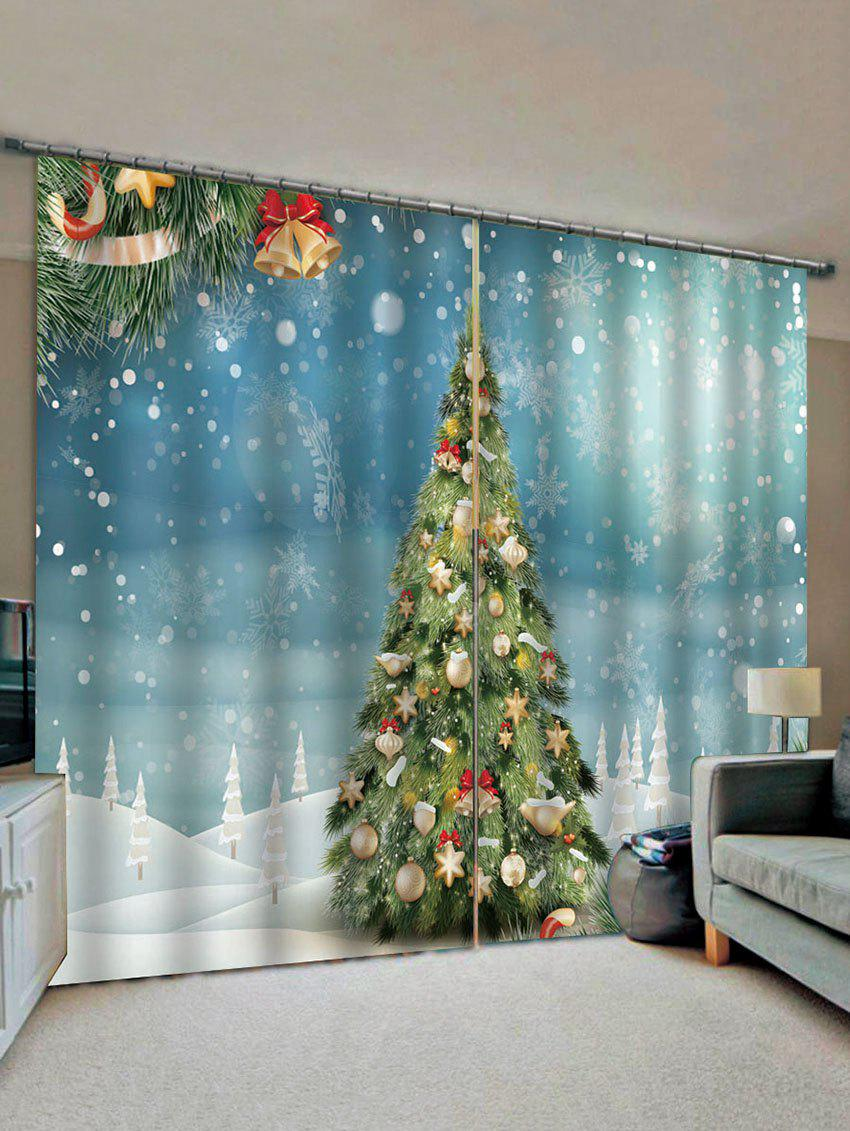 2 Panels Christmas Tree Snowflakes Print Window Curtains - multicolor W28 X L39 INCH X 2PCS