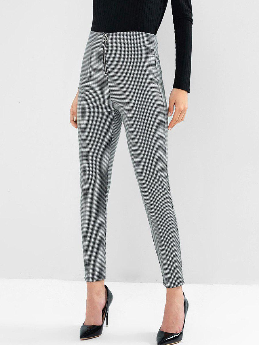 Houndstooth O Ring Zip High Waisted Leggings - BLACK XL