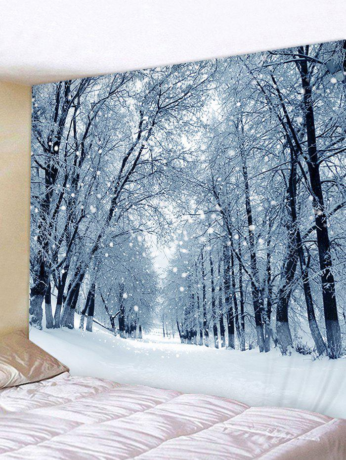 Snow Forest Road Print Tapestry Wall Hanging Art Decor - SILVER W79 X L59 INCH