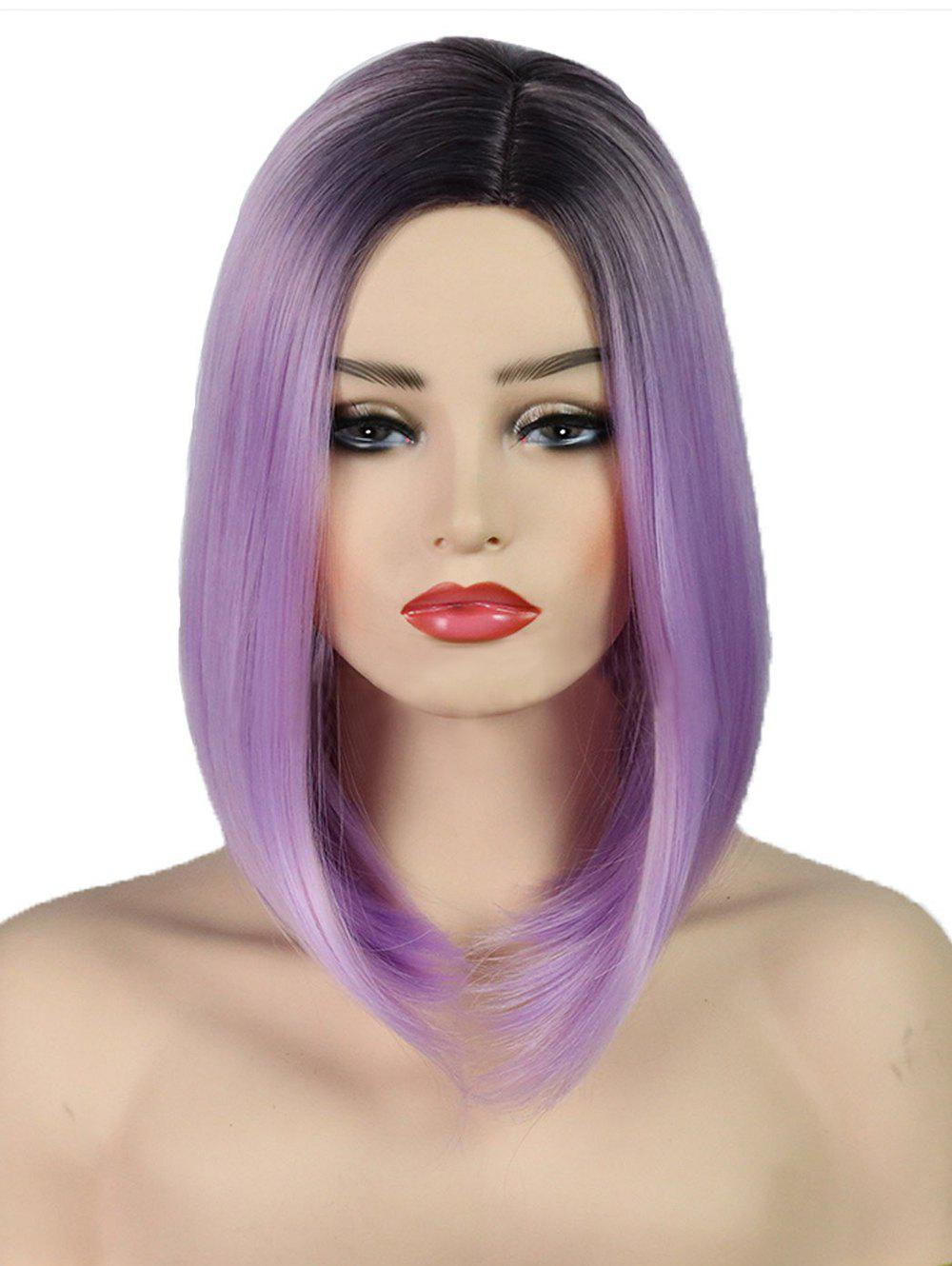 Side Part Straight Synthetic Long Ombre Wig - BLOSSOM PINK 14INCH