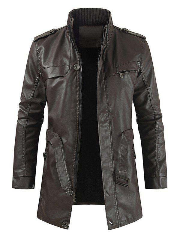 Solid Color Faux Leather Zip Up Coat - DEEP BROWN M