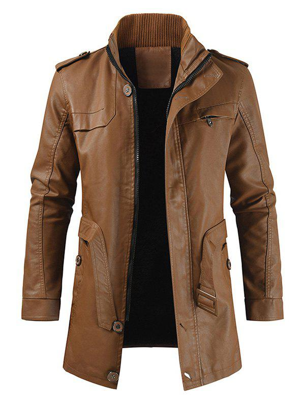 Manteau Zippé en Couleur Unie en Faux Cuir - Orange Tigre S